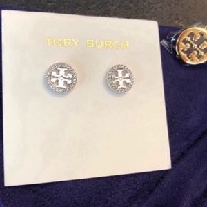 Tory Burch NWOT Silver Pave Circle Logo Earrings